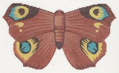 """""""Chocolate and Turquoise Butterfly"""" by Labors of Love Size: Mesh Count: 18 Needlepoint Canvases, Butterfly Design, Beautiful Butterflies, Hand Painted, Turquoise, Chocolate, 8 Weeks, 3 Months, Artist"""