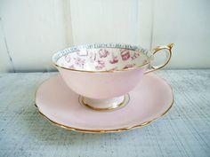 Pink Paragon Tea Cup and Saucer Set - Paragon Teacup and Saucer Set - Fortune Telling Tea Cup Set. $200.00, via Etsy.