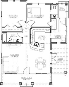 Craftsman Style House Plan - 2 Beds 1.5 Baths 1044 Sq/Ft Plan #485-3 Main Floor Plan - Houseplans.com