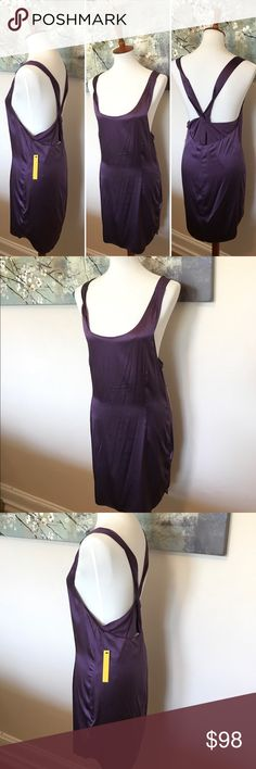 Alice + Olivia purple silk dress by Stacey Bendet This Alice + Olivia x Stacey Bendet special edition silky smooth sexy ensemble is perfect for date night!  Show off that back and those legs for any great night! NEW WITH TAGS! Alice + Olivia Dresses Mini