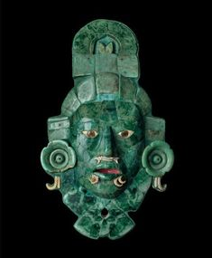 Máscara de jade, Kalakmul Aztec Mask, Colombian Art, Aztec Culture, Aztec Warrior, Aliens And Ufos, Mesoamerican, Ancient Artifacts, Native Art, Ancient Civilizations