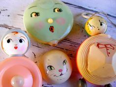 Vintage Baby Toys Broken Celluloid Faces