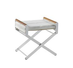 SIFAS in-outdoor living furniture : Collection OSKAR Aluminium anodisé (tabouret avec coussin cuir synthétique / ottoman incl. synthetic leather cushion)