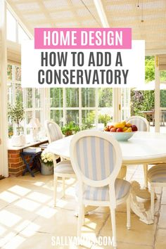 Adding a conservatory is a great way to extend your home, giving you an additional playroom, breakfast room or family room. Can't you just picture yourself relaxing in your new conservatory with a book while rain patters down on the roof above, or entertaining guests by candlelight in the evening? Find out all you need to know about adding a conservatory to your home #HomeDesign #HomeImprovements #Decor Outdoor Furniture Sets, Outdoor Decor, Conservatory, Playroom, Family Room, Home Improvement, Relax, Rain, Home And Garden