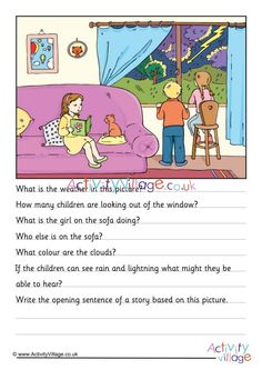 Here's a fun picture comprehension for the kids to try. Can they study the stormy day scene then answer a few questions about what they see? Picture Story Writing, Picture Story For Kids, Writing Pictures, English Worksheets For Kids, English Lessons For Kids, English Fun, English Grammar, 2nd Grade Reading Comprehension, Picture Comprehension