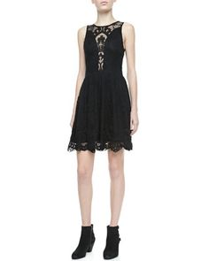 Lulu Mesh-Inset Lace Dress by For Love & Lemons at Neiman Marcus.# the bak of this dress is insane and i love it