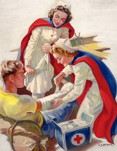 Ellen Barbara Segner illustrator [I actually remember when nurses wore uniforms and not scrubs. it was so much more disciplined. jh]