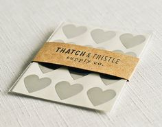 Small Silver Heart Sticker Envelope Seals — Thatch & Thistle Supply Co. // Pretty packaging, gift wrapping, crafting and party supplies for gifts, parties, birthdays, showers, weddings and decor. Shop for baker's twine, mini clothespins, paper bags, pom pom garland, paper straws, carnival tickets, stickers and more! // thatchandthistleco.etsy.com