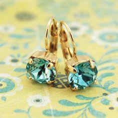 Aqua Blue 8mm Drop Earrings Swarovski Rhinestone Crystal Gold finish Light Turquoise Teal Tiffany Blue Green Sea Blue, ARCTIC DESERT, GE2