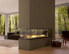 cheminée contemporaine centrale, design stylée minimaliste