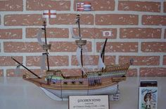 This ship paper model is the Golden Hind, an English galleon best known for her privateering circumnavigation of the globe between 1577 and 1580, captained by Sir Francis Drake, the papercraft is created by ABC.  The Golden Hind was originally known as Pelican, but was renamed by Drake mid-voyage