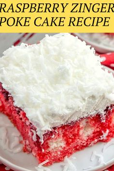 Homemade White Cakes, Homemade Cake Recipes, Zinger Cake Recipe, Raspberry Zinger Cake, Beef Recipes, Yummy Recipes, Soup Recipes, Chicken Recipes, Coconut Poke Cakes