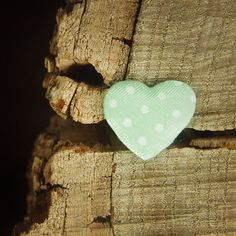 Polka Dotted Heart 2cm  Mint  100 by Craft365.com ~US$4.90