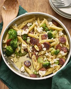A quick an easy recipe for penne pasta tossed with smoked sausage, tender broccoli, and salty feta cheese.