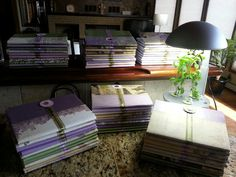 Journals for our Calvary Chapel Grand Junction ladies retreat.  50 cent composition books covered with scrapbooking paper and embellished with custom ribbon printed with theme scripture.  Total cost less than $1.50 each!