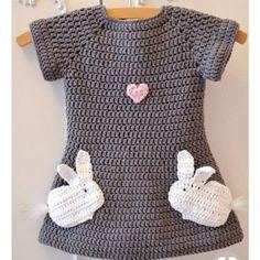 Baby Knitting Pattern Crochet Pattern Dress Love Bunnies – Crochet Tutorials at Makerist Crochet Girls, Crochet Baby Clothes, Crochet For Kids, Baby Afghan Crochet, Crochet Baby Hats, Knit Crochet, Booties Crochet, Crochet Mandala, Knitted Baby
