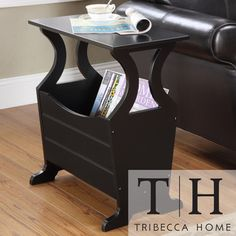 TRIBECCA HOME Astara Black Magazine Rack End Accent Table