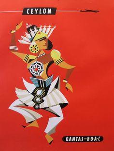 2014 Contemporary Sri Lankan Poster, Ceylon Qantas/BOAC by Harry Rogers