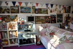 """Alison has it all going on in her #logcabin, """"I love my #Dunster #Cabin, it's used for crafts and sewing, it stores my #vintage #treasures too, my collection is still growing!"""""""