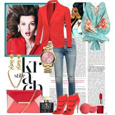 A fashion look from May 2015 featuring summer tops, red blazer and ripped jeans. Browse and shop related looks. Ruthie Davis, Red Blazer, Citizens Of Humanity, Summer Tops, Ripped Jeans, Eos, Cool Girl, Fashion Looks, Gucci