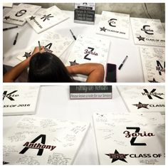 Senior Signature Canvases - a classy memento for your senior athletes. Have the team, gym, parents, and coaches sign and leave words of advice or wisdom. Cheerleaders love this gift as I'm sure every senior athlete would.