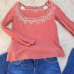 United Colors of Benetton top Embroidered United Colors of Benetton top. Size xs. Color: coral United Colors Of Benetton Tops Blouses