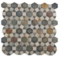 Merola Tile Crag Aztec Multi Sunset 10-1/4 in. x 11-1/4 in. x 9 mm Slate Mosaic Floor and Wall Tile-GDXCAZMS - The Home Depot