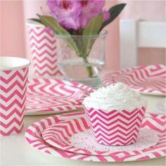 Pink Chevron Tableware Set