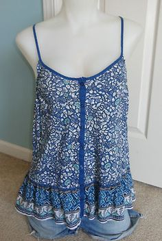 WOMENS AMERICAN EAGLE OUTFITTERS BLUE FLORAL TANK TOP MEDIUM M 100% COTTTON