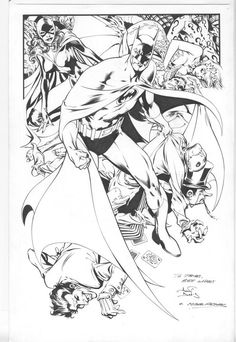 I've always loved Alan Davis' Batman, especially on his Detective Comics run with writer Mike Barr. Dig this piece of original art with a long-caped Batman and the near-entire rogues gallery of villains, including a very sexy Catwoman!