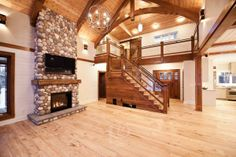 Stone fireplace and timber features Custom Home Builders, Custom Homes, Timber House, Empty Room, Home Kitchens, Stairs, Mansions, Case, House Styles