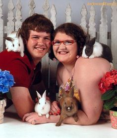 When they took their engagement photos, they knew exactly what their theme was going to be. After all, all four rabbits participated in the actual engagement.