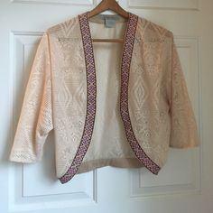 For Sale: Cream Cardigan w/ Aztec Border for $9