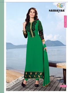 Evelyn Green & Black Coloured Georgette  Embroidered Dress Material