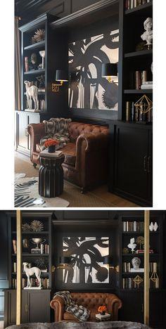 Luxo contemporâneo em quarto com paredes pretas