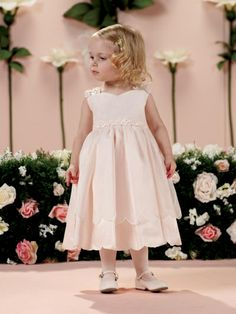 Joan Calabrese for Mon Cheri 114358B Flower Girl Baby Dress, $117.99. 6-12-18-24 month. Colors: Ivory/Blush. Fabric: Taffeta, Tulle And Organza.