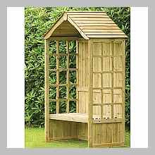 Atholl Arbour Seat with Solid Back Panel and Roof Cedar Garden, Garden Arbor, Garden Buildings, Garden Structures, Outdoor Furniture Plans, Garden Furniture, Arbour Seat, Garden Shed Interiors, Yard Benches