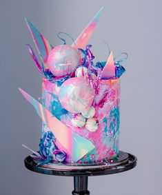 For an IRIDESCENT HOLOGRAPHIC THEMED birthday party Rainbow galactic cake using Watercolor Swiss Meringue Buttercream. Marble white chocolate spheres, Isomalt shapes and printed chocolate shards. Crazy Cakes, Fancy Cakes, Beautiful Birthday Cakes, Beautiful Cakes, Amazing Cakes, Pretty Cakes, Cute Cakes, Candy Birthday Cakes, Galaxy Cake