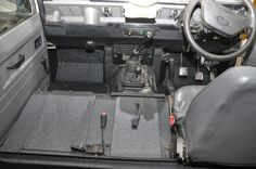 Land Rover interior. Cab floor lined with LINE-X protective coating