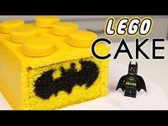 Amazing Lego Batman cake tutorial Video - Love the bat symbol in the Lego brick design.