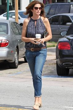 She can make anything look good: Cindy Crawford grabs a coffee in Los Angeles on Sunday lo...