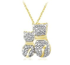 $12.99 - Diamond Accent Double Cat Pendant in 18K Gold Over Sterling Silver