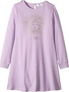 3b109aed4063 Versace Kids Womens Long Sleeve Dress w  Embellished Medusa On Front (Big  Kids)