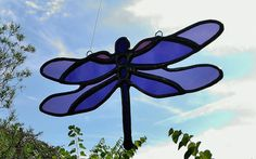 Stained Glass Dragonfly Suncatcher Purple by JBsGlassHouse on Etsy