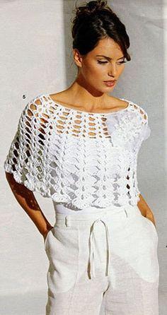 Poncho de crochê branco - Receita e gráfico   Tricô + Crochê