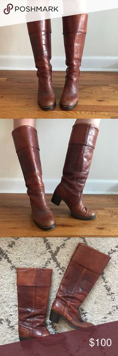 Vintage FRYE campus boots Amazing vintage cognac colored leather boots. From the 70s-80s. Well-loved, but just adds to the vintage character. Frye Shoes Heeled Boots