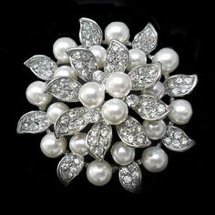 Round Crystals and Pearl Starlet Brooch by allysonjames on Etsy