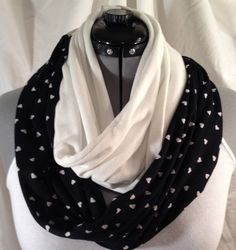 White Hearts on Black Cotton Jersey with White Hacci by MattieSews, $20.00