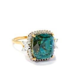 27.90ct Blue Zircon and Diamond 18k Gold Ring | Gemporia