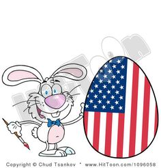 Happy Bunny Painting An Easter Egg Like An American Flag